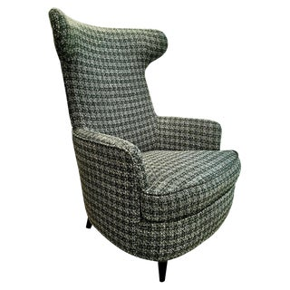1950s Wing Armchair, Wood Structure, Wool Tweed from the 1960s, Italy For Sale