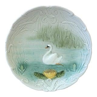1900 German Majolica Swan Plate For Sale