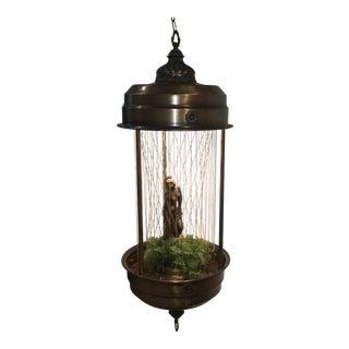Vintage Swag Oil Rain Lamp With Greek Goddess by Johnson Lighting For Sale