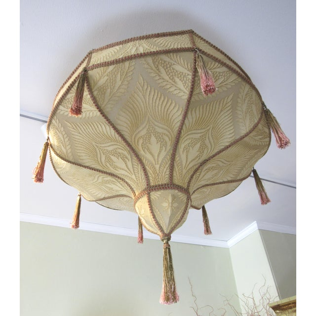 Fortuny Style Art Deco Fabric Chandelier For Sale - Image 13 of 13