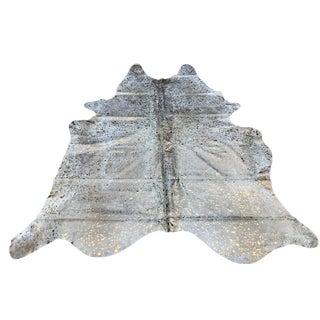 Contemporary Devore Metallic Copper & Beige Cowhide Rug