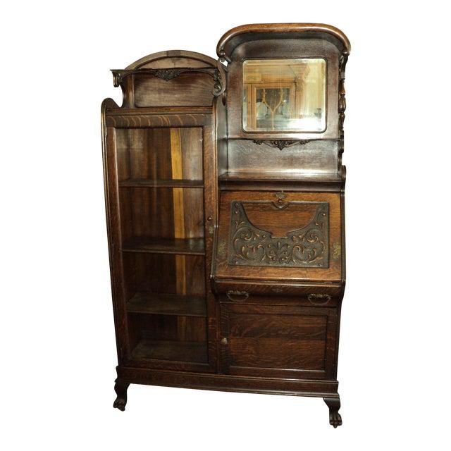 Antique Oak Secretary Desk Display Cabinet - Antique Oak Secretary Desk Display Cabinet Chairish