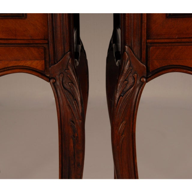 French Victorian Nightstands on Castors Rose Veneer Carved Wood Marble Top - a Pair For Sale - Image 9 of 12