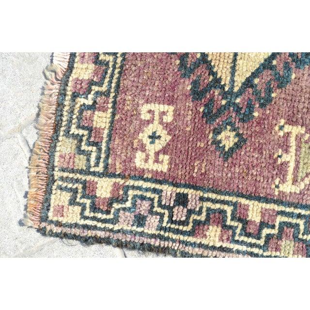 Antiaque Kurdish Rug Distressed Low Pile Yastik Petite Rug Low Pile Faded Mat - 20'' X 32'' For Sale - Image 4 of 6
