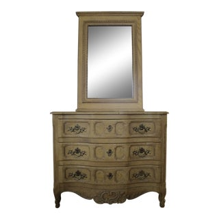 1970s Vintage Baker French Country Style Commode and Mirror For Sale