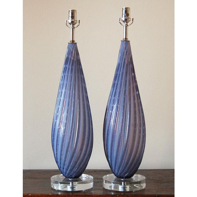 Beautiful vintage OPALINE glass table lamps in WHISPER SOFT LAVENDER. The Venetian glass has swirling vertical ribs and...