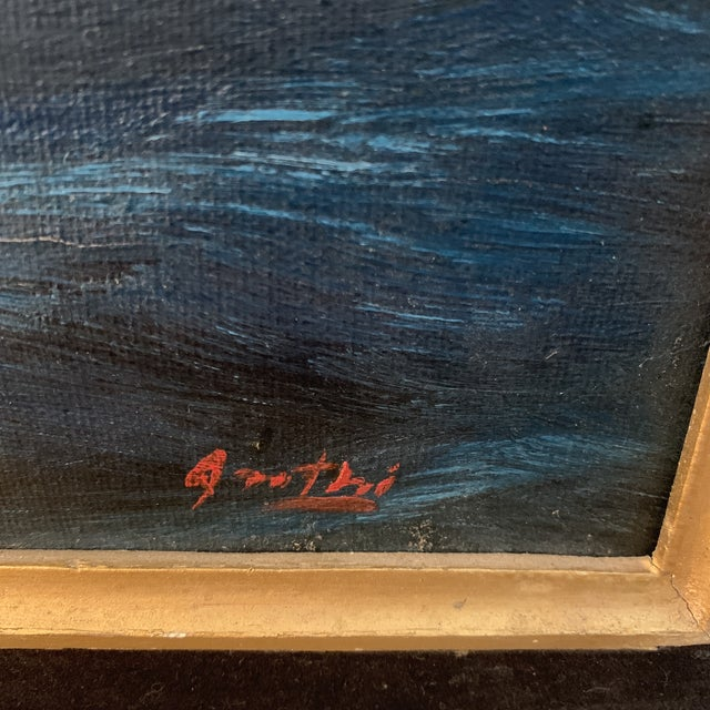 The American School Midcentury Oil Seascape Painting of a Sailing Ship For Sale - Image 3 of 7
