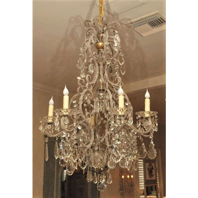 19th C Italian 6 Lite Chandelier For Sale - Image 4 of 4