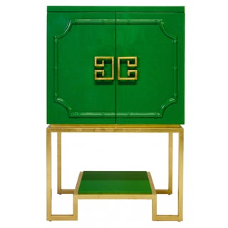 Emerald Green Lacquer Cabinet For Sale