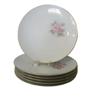 Vintage 1961-73 Noritake Roseville China Pink Rose With Blue Flower Accent Dinner Plates - Set of 6 For Sale