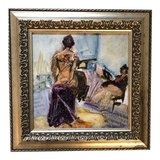 Vintage Original Female Nude Oil Sketch by Lucy Glick For Sale