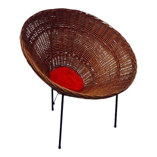 Sunflower Woven Wicker Cone Basket Lounge Chair by Roberto Mango for Tecno