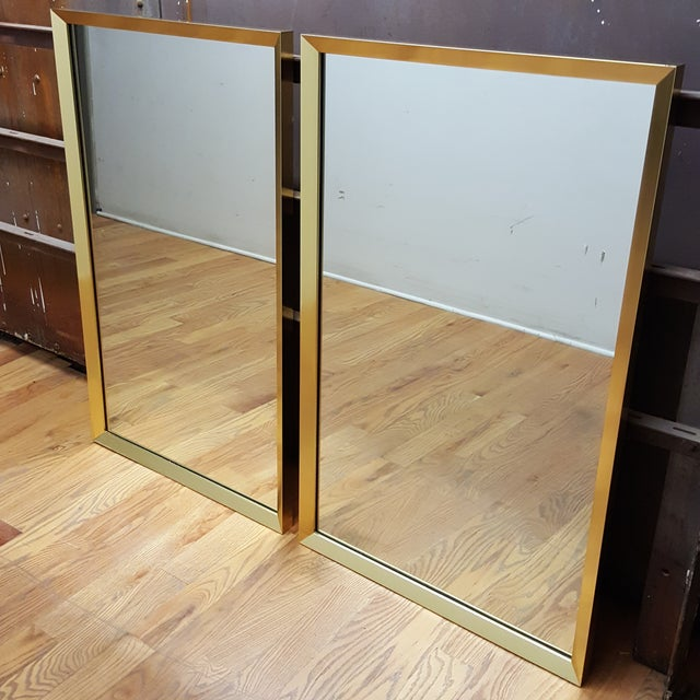 Large Brass-Framed Mirrors - A Pair - Image 2 of 6