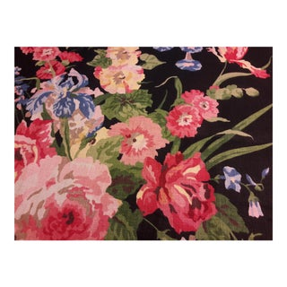 Cottage Ralph Lauren Ladies Mantle Wrought Iron Floral Linen Fabric - 1.5 Yds For Sale