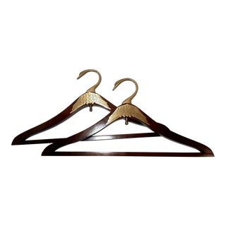 Vintage Wood & Brass Hangers - a Pair For Sale