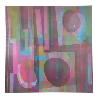Vintage Mid-Century Abstract Geometric Painting by Marian Ford