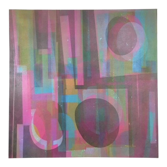 Vintage Mid-Century Abstract Geometric Painting by Marian Ford For Sale