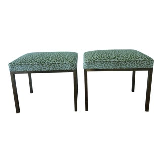 1980s Vintage Mastercraft Brass Benches - a Pair For Sale