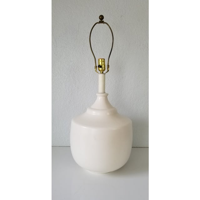 Jacques Grange Style Flat White Glazed Table Lamp. For Sale - Image 11 of 11
