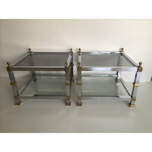 1970s Vintage Chrome & Brass Tables - Pair - Image 3 of 5