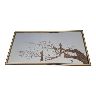 Eglomise Brass Framed Etched Mirror