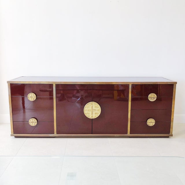Giacomo Sinopoli for Liwan's of Rome, Italy Bronze Asian Hardware Credenza Sideboard, 1972 For Sale - Image 12 of 12