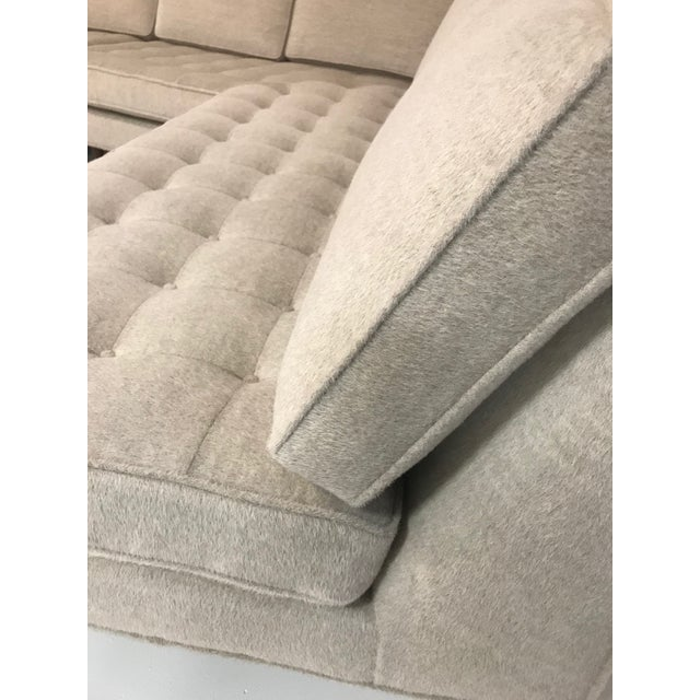 Vintage Mid-Century 2-Piece Sectional Sofa Restored in Gray Loro Piana Alpaca Wool For Sale - Image 10 of 13