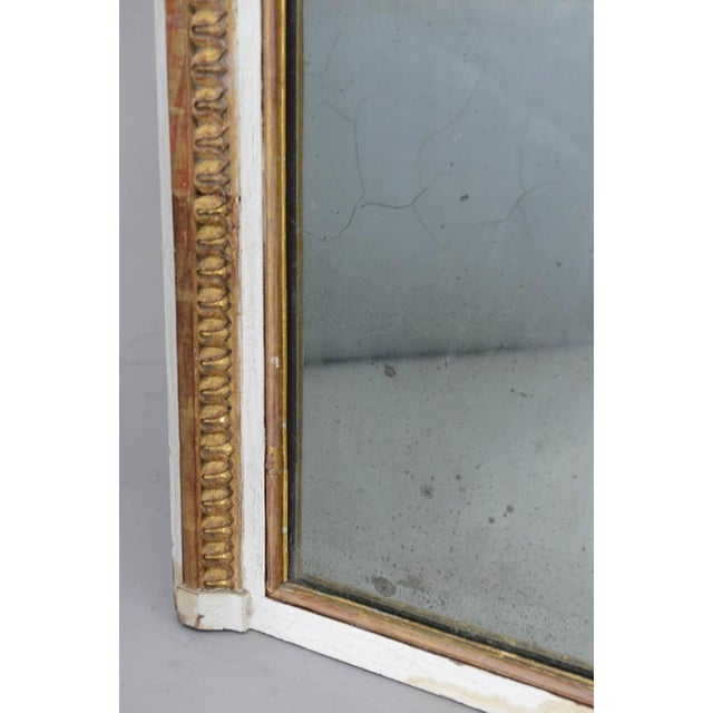 Louis XVI Narrow 19c. Painted and Parcel Gilt French Trumeau Mirror For Sale - Image 3 of 11