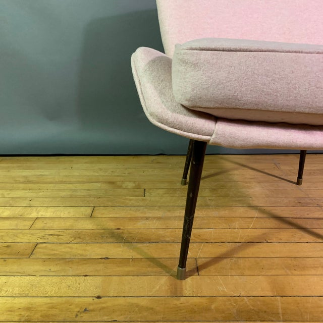 Italian 1950s Boudoir Chair, Pink Felted Wool For Sale In New York - Image 6 of 11