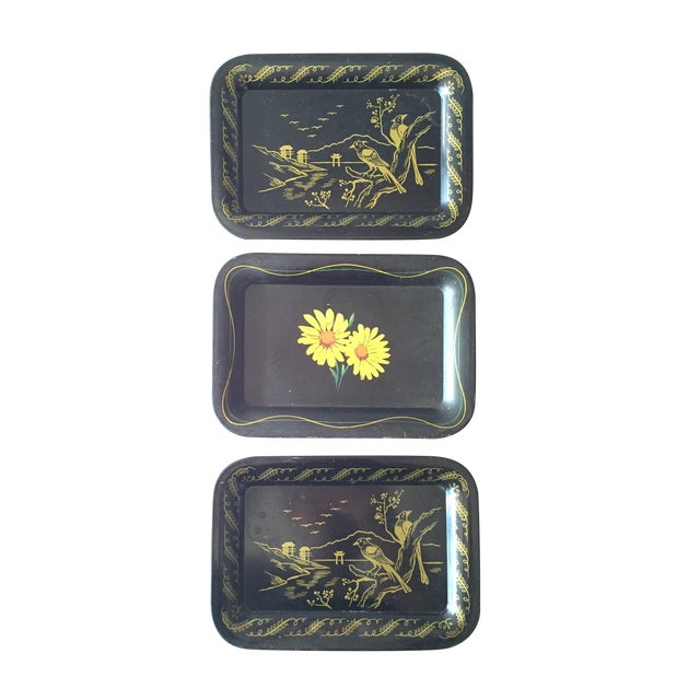 Daisies and Ravens Toile Trays - Set of 3 - Image 1 of 6