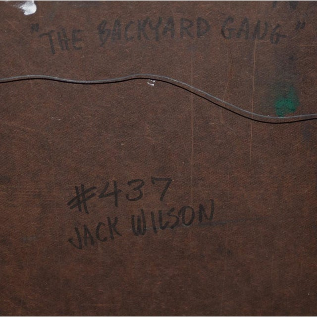 "Yellow Jack Wilson ""The Backyard Gang"" Original Palette Knife Painting C.1970 For Sale - Image 8 of 9"