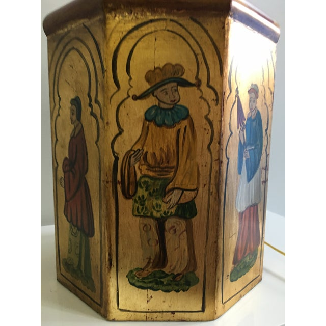 Vintage Tole Octogan Hand Painted Lamp - Image 8 of 11