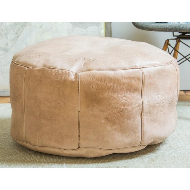 Antique Revival Nude Leather Pouf Ottoman Chairish