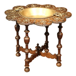 Early 19th Century Spanish Carved Walnut Brasero with Removable Brass Tray Top