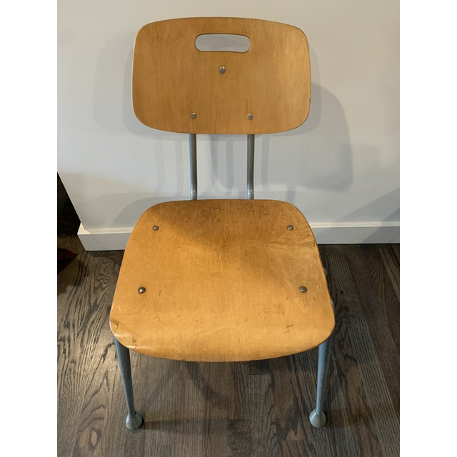1950s 1950s Vintage Brunswick Wooden School Chairs With Bent Tubular Steel Legs - a Pair For Sale - Image 5 of 11