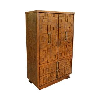 Mid-Century Modern Brutalist Armoire Dresser For Sale
