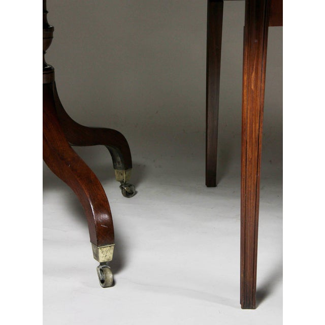 Wood Unusual Irish Regency Two Pedestal Dining Table For Sale - Image 7 of 8