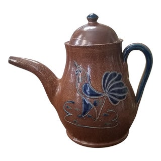 Vintage Stoneware Chanticleer Teapot For Sale