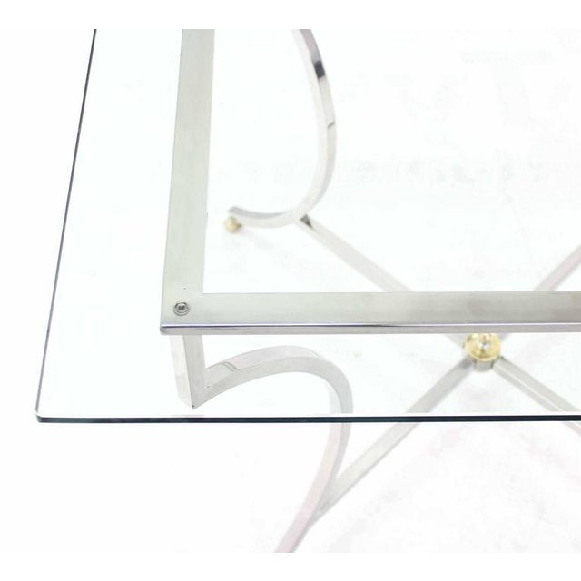 Early 20th Century Brass Hoof Feet Chrome Glass Top Square Game Table For Sale - Image 5 of 6