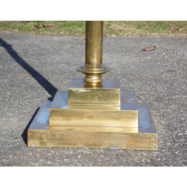 Metal Vintage Mid Century Brass Ceremonial Floor Candlestick Candelabra Candle Pillar For Sale - Image 7 of 13
