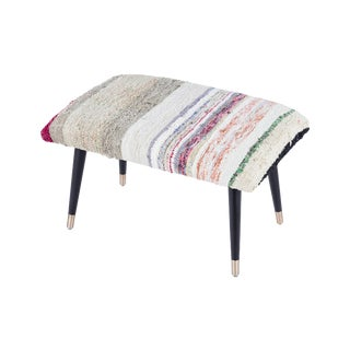 Pasargad Home Bosphorus Collection Tan Kilim Cover Ottoman For Sale