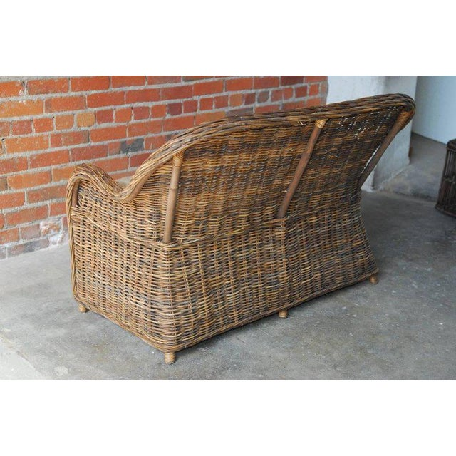 Organic Modern Woven Rattan and Wicker Settee - Image 8 of 9