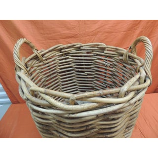 Vintage Monumental Round Willow Planter/Basket With Handles Preview
