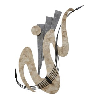 Wave Tessellated Stone Wall Sculpture With Iron Accent For Sale