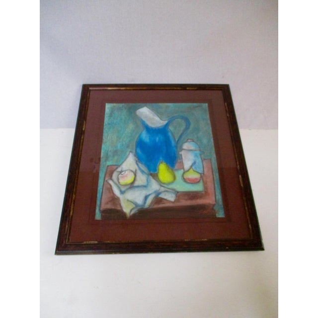 Still Life Blue Water Pitcher & Fruit Painting - Image 7 of 8