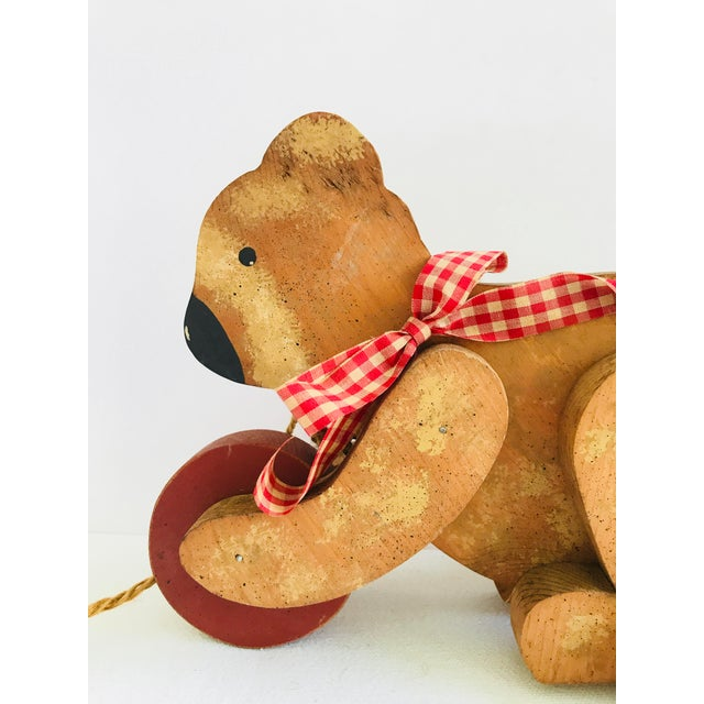 Paint Vintage Primitive Wood Teddy Bear on Rolling Wheels For Sale - Image 7 of 11