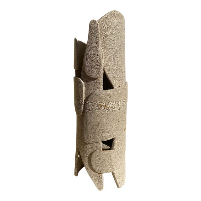 Modern Mat White Sculptural Ceramic Lamp For Sale