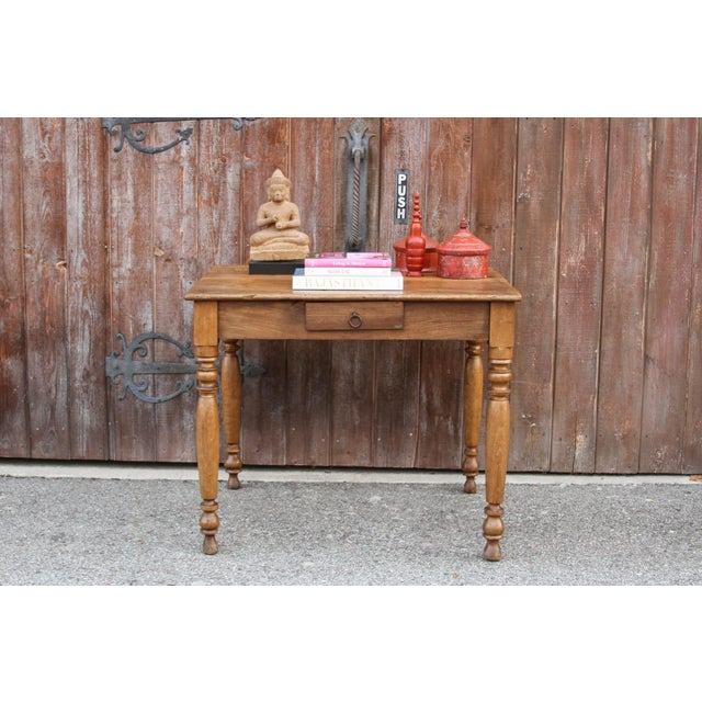English Traditional Rustic Farmhouse Kitchen Table For Sale - Image 3 of 10