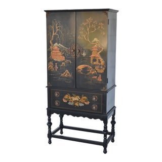 Chinoiserie Hollywood Regency Black Lacquered Cabinet For Sale