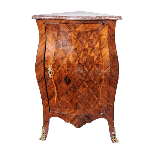 Brass Antique French walnut corner cabinet. For Sale - Image 7 of 7